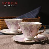 Gift Box Packed!Sixth quality kiln 35% bone china coffee cup set d'Angleterre Purple Flower Pattern black tea cup set