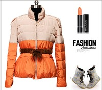 2013 New women winter short design coats slim fasion warm patchwork white duck down outerwear  jackets
