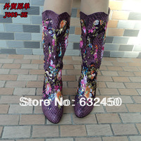Free shipping 4 colors winter over-the-knee wedges  women heel silver boots embroidered shoes flower plus size martin boots 339