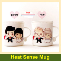 1 pair Romantic lovers gifts Creative Magic Cup color change coffee mug for brithday Free shipping drop shipping