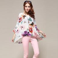 2014 Summer Fashion Casual New Women Bohemian Chiffon Blouse Dress Flowers Floral Print Plus Big Large Size Butterfly Sleeve