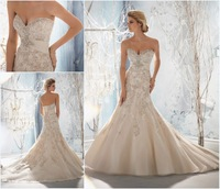 Daneileen Free shipping Latest Design Photos Real Sample Vintage Lace Wedding Dress Mermaid Style