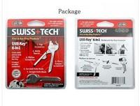 5pcs 100% OEM SWISS + TECH Pocket Knife 6 In 1 Utili-Key Multitool Survival Knife Folding Knife Free Shipping