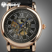 INFANTRY Luxury Men Golden Case Black Leather Skeleton Mechanical Hand Winding Wrist Watch Gift New 2013