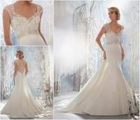 Cap Sleeve Wedding Dresses with Long Train Plus Mermaid Style Lace Bridal Dress Designer Wedding Gowns 2013