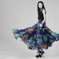 2013 autumn layered dress high quality silk long skirt high waist all-match print bust skirt