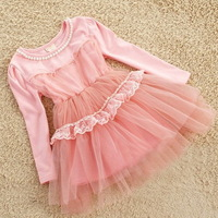 New autumn,girls princess dress,children autumn dress,ball gown,beaded collar,cotton,lace,2-8 yrs,5 pcs / lot,wholesale,0358