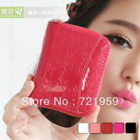 2013 zipper japanned leather women's short design coin purse women's small coin case  free  shipping