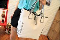 new 2013  women leather handbags designers brand messenger bag 2 pcs/set white snake vintage genuine leather  large capacity