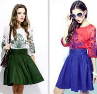 1055 2013 embroidery half sleeve one-piece dress vintage fashion chiffon one-piece dress