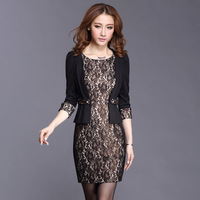 2013 autumn women's vintage cutout lace slim faux two piece female one-piece dress - - 999