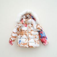 2013 Winter fancy design short girls baby hooded thickening wadded jacket female winter child thermal child cotton-padded jacket