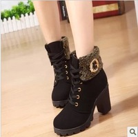 Free shipping Women's martin boots shoes thermal plus velvet boots platform ankle boots thick heel platform high-heeled shoes