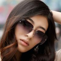 Quality Women Sunglasses Women's Rimless Sunglasses Female Gradient Elegant Sun-shading  Candy Sunglasses Fashion Sunglasses