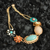 Fashion accessories female baroque royal big drop gem shell short necklace