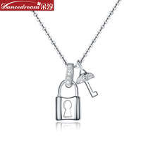 Jewelry necklace chain sets lock key inlaying crystal zircon lovers design pendant