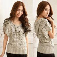 W71 Handmade Crochet Embroidery Women's Hollow Floral Sweater Batwing Sleeve Knitting Hooded Blouses Tops Tee High Quality Renda