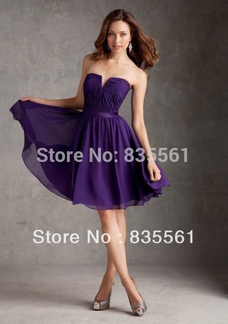 Deep Purple Wedding Dresses : Deep purple bridesmaid dresses short knee length simple strapless