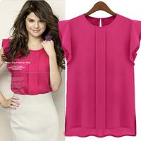 2014 fashion summer short-sleeve o-neck ruffled pleated sleeve chiffon shirt top female