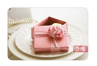 Sweet Pink Love Fashion Wedding Candy Favor Boxes Krafty Paper Western Style Chocolate Boxes 50pieces/lot Free Shipping