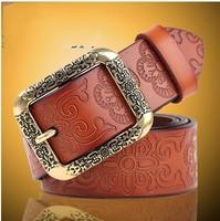 New fashion style Genuine leather  female fashion vintage wide belt Women print  all-match belt