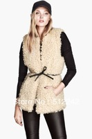 2013 spring autumn winter fashion women's white artificial wool  long vest coat tops outwear free shipping xhf