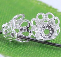 wholesale  1500 Silver Plated Flower Bead Caps 6 x 4.5mm J0149
