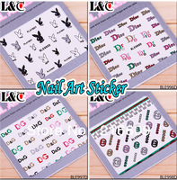 Newest 20Sets/Lot 3D Colourful Glitter Nail Sticker Brand Logo Nails Design Decal DIY Decoration #995D+998D Free shipping