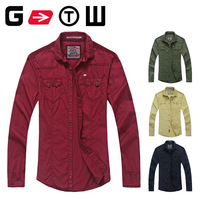 Long-sleeve shirt 100% cotton patchwork turn-down collar shirt   CC-8101