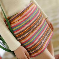 Free Shopping Women New 2014 Aztec Geometric Patterns Knitted High Waist Slim Hip Mini Short Skirt pencil skirt