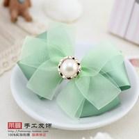 (MIN ORDER $15)Korean  manual green bow hair clip p186