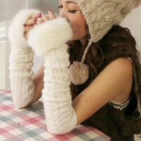 Long Yarn Knit Fingerless Gloves Thermal Fingerless Hemp Flowers Mittens Women's Winter Wool Outdoor Luvas With Fur For Women