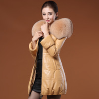 Genuine leather women medium-long down coat leather clothing 2014 fox collar / sheepskin  lady warm leather clothing