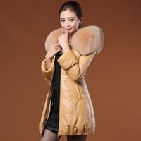 Genuine leather women medium-long down coat leather clothing 2014 fox collar / sheepskin  lady warm leather clothing