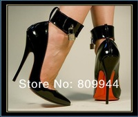 Black single lock queen tuning 13CM sexy high heels shallow mouth pointed super sexy high heels 21012