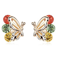 Hot ! Stylish and Elegant Cute Butterfly Earrings Crystal Prevent Allergies Earrings