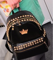 High Quality   NB186 2013 New Rivet Crown Backpack Women PU Girls Leather School Bags Black   Factory Price