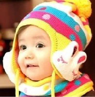 Double layer knitted child knitted hat candy color round dot big rabbit child ear protector cap