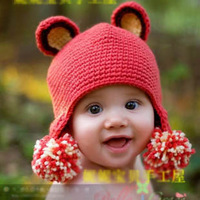 Handmade knitted cap rabbit ear protector handmade cap baby double ball child
