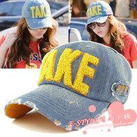 Denim distrressed casual hat take baseball cap female hat