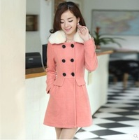 Plus size clothing thickening slim double breasted woolen fur collar medium-long wool woolen outerwear overcoat