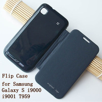 Free Shipping Original Luxury Stylish Leather Flip Case Back Cover for Samsung Galaxy S Plus i9000 i9001 T959 9000