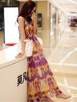 2014 New Arrival Women's elegant chiffon printed bohemian beach dresses with side zipper, Free Shipping