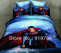 Hot New Beautiful 100% Cotton 4pc Doona Duvet QUILT Cover Set bedding sets Full Queen King size 4pcs blue Superman Returns