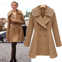 free shipping 2013 new fashionEuropean and American women's 2013 winter new long-sleeved double-breasted wool coat detachable fu