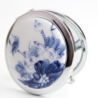 Gift jingdezhen ceramic metal portable makeup mirror folding mirror beauty mirror small mirror