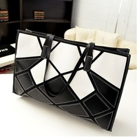 2013 autumn watercubic shoulder bag fashion black and white color block women's patchwork handbag big bag