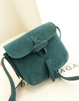 2013 women's bags tassel shoulder bag color block all-match suede small messenger bag picture bags