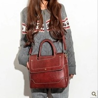 Multifunctional bag double-shoulder female backpack portable women's one shoulder handbag 2013 cowhide vintage bags