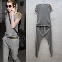 2013 new  ladies stud fashion leisure suit  T-shirt + pants Suit